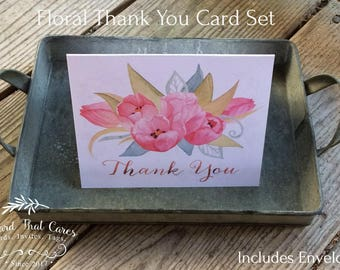 """Thank You Card • Floral • Size A2 • 4-1/4"""" x 5-1/2"""" Folded Note Cards With Envelopes  Hi White 80 LB Vellum • Blank Inside • Stationary"""