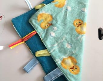 Rubber duckie & blue lovie blanket