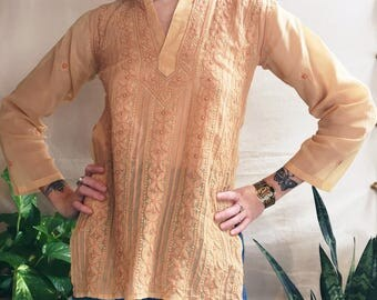Blush Pink Embroidered Indian Cotton Gauze Top / Hand Embroidery / 1960's Sheer Henley / Tunic