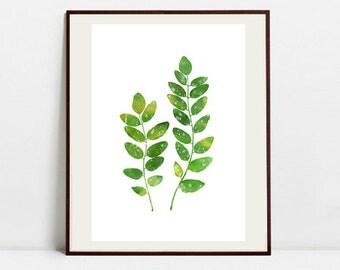 Leaf Art Botanical Print , Leaf Watercolor Painting, Leaf Green Illustration, Digital Download Art Print