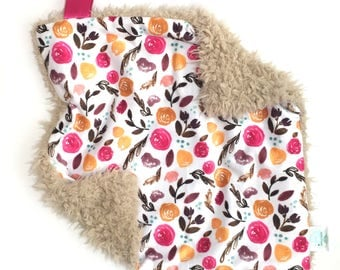 READY TO SHIP, Autumn Flowers Lovey,Minky Lovey, Baby Girl, Small Blanket, Baby Lovey, Baby Blanket