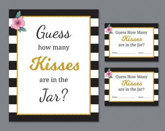 Guess How Many Kisses are in the Jar, Bridal Shower Games Printable, Kate Spade Stripes, How Many Kisses, Wedding Shower, Candy Guess, A014