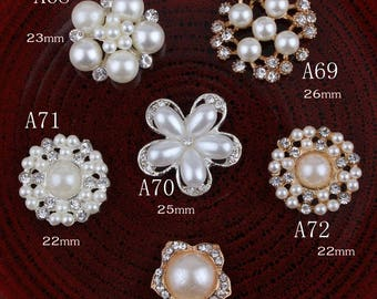 Hot Fix Vintage Round Metal Rhinestone Buttons Bling Flatback Crystal Pearl Buttons for Hair accessories Wedding Decoration
