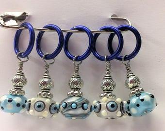 Baby Blues - Kiki Beads Lampwork - Knitting Stitch Markers - Fits up to size 15 needle