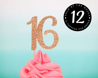 Sweet 16 Cupcake Toppers Sweet 16 Gold Party Decorations 16th Birthday Toppers Sweet 16 Party Sweet Sixteen Toppers Sweet Sixteen Glitter