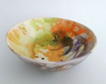 Handmade ceramic bowl, watercolor, contemporary, colorful, serving bowl, noodle soup bowl, orange yellow chartreuse purple brown