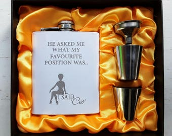 Favourite Position CEO // Gift for Her // Funny Flask // Hip Flask for Women // 21st Birthday Gift for her // 7 oz