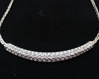 Swarovski Silver Tone Round Crystal Choker-Necklace~Wedding Jewelry-Prom