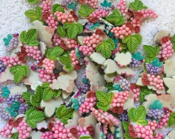 3 lots of Vintage grape, cherries and fish appliques