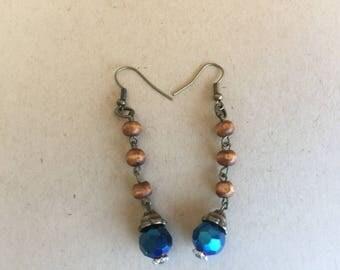 beaded earring ,dangle earring,light weight earring,brown earring,earring,earrings,long earring,blue earring,drop earring