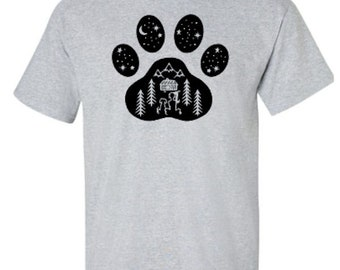 Dog and Girl Camping Paw Print Adult Unisex Tshirt