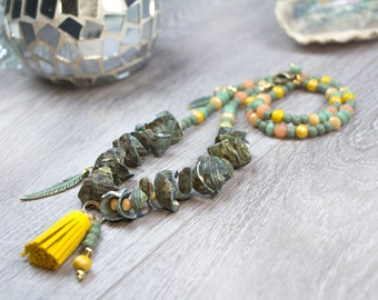 Long tassel chain with shells boho tassel yellow green mother-of-Pearl Ibiza