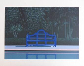 Patrick LE HEC'H: poolside # original LITHOGRAPH signed bench #350EX