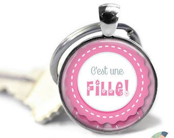 Key ring it's a girl baby birth @3 pregnancy announcement