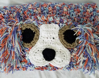 Puppy blanket, dog blanket, hooded blanket, crochet hooded blanket crochet blanket