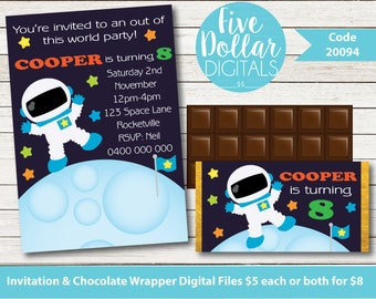 Space Personalised Digital Birthday Invitation & Chocolate Candy Bar Wrapper Printable DIY PDF JPEG