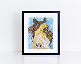 Watercolor Horse Print/ Horse Decor/ Colorful Horse Art/ Wild Horse/ Horse Portrait/Horse Gift/Custom Horse Painting/Commissioned Art