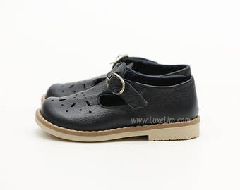 Ready to ship! 100% Genuine Leather  Shoes Sandals baby kids children s boy girl navy blue T-bar   mary jane vintage style