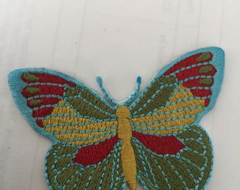 Butterfly Cute Blue Red Embroidered Patch  Iron Or Sew