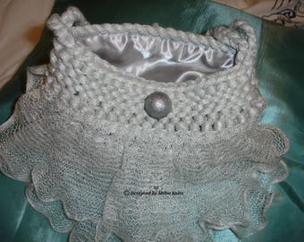 Silver Evening Bag, Bridal/Bridesmaid Bag,  Pretty Delicate Handmade Bag, Special Occasion/Evening Bag, Satin Lined Silver Bag, Wedding Bag