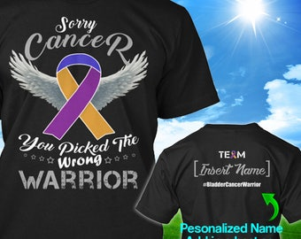 Personalized Bladder Cancer Awareness Tshirt Purple Blue Marigold Ribbon Warrior Survivor Custom T-shirt Apparel Unisex Women Youth Kids Tee