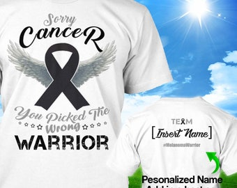 Personalized Melanoma Cancer Awareness Tshirt Black Ribbon Warrior Survivor Custom T-shirt Strong Apparel Unisex Women Youth Kids Tee