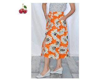 Tangerine skirt flower vintage 70's midi skirt buttoned printed sunflowers hippie MIDI skirt with pockets front french tangerine skirt