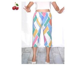 Cropped pastel graphic 80's colorblock capri pants casual pants size high vaporwave white rope belt french capri Pants