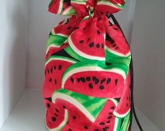 Watermelon fabric drawstring project bag.