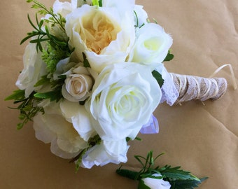 White and cream  peony burlap bouquet
