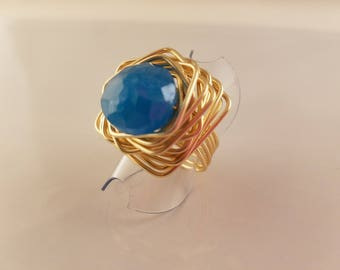 Blue Crystal Triangle ring. Triangle blue glass ring