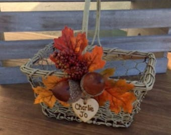 Flower Girl Basket Fall Wedding Decor Chicken Wire Fixer Upper