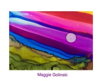 Original art - abstract art - alcohol ink painting - ink art - Original painting - landscape art - Golinski - contemporary art