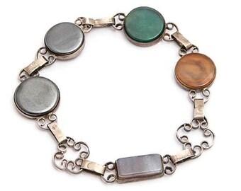 Sterling Silver Link Bracelet with Multi Color Stones