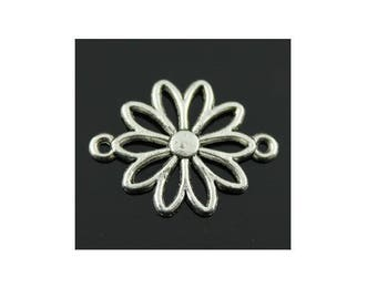 set of 5 Silver Daisy (B24) Daisy flower connector charms