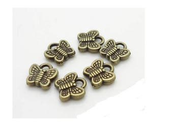 Set of 10 charms Butterfly minimalist bronze (T38)