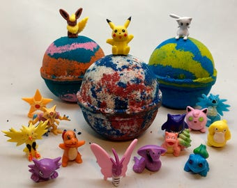 All Natural Homemade Pokemon Bath Bombs Party Favors Set with Toy Pokemon in every Bath Bomb Fizzy