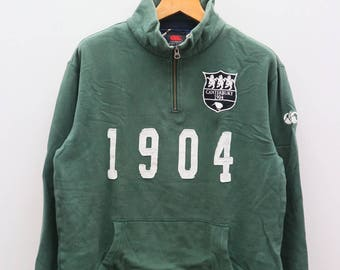 Vintage CANTERBURY Of New Zealand 1904 Green Pullover Sweater Sweatshirt Size L