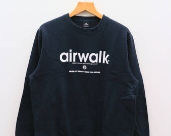 Vintage AIR WALK Never Let Gravity Boss You Around Black Sweater Sweatshirt Size XL