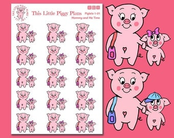 Mommy and Me Time Planner Stickers - This Little Piggy - Parenting Stickers - Kids Planner Stickers - Piglets - Pig Stickers- [Piglets 1-01]