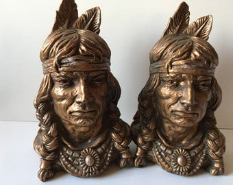 American Indian bookends. Universal Statuary Corp #320.