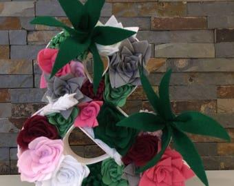 Felt flower Succulent Fillable Letter Ampersand/&
