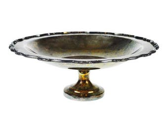 "Vintage Wm A Rogers 12"" Silverplate Footed Compote Bowl"