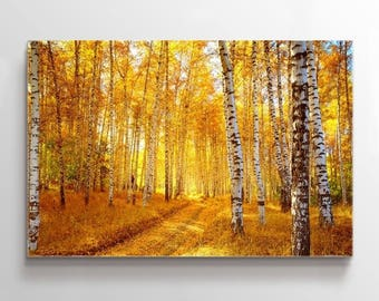 Large Wall Art Yellow Forest in Autumn Canvas Print