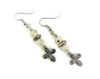 Grey Agate Earrings, Cross Earrings, Silver Cross Earrings, Beaded Earrings, Dangle Earrings, Boho Chic, Silver Earrings, Cross Jewelry