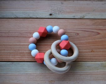 Teething ring, ring rattle, BPA free silicone rattle with wooden rings, baby toy, baby gift