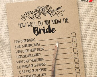 How Well Do You Know the Bride  Game Bridal Shower game printable Wedding shower game Bachelorette party rustic games Instant download WG110