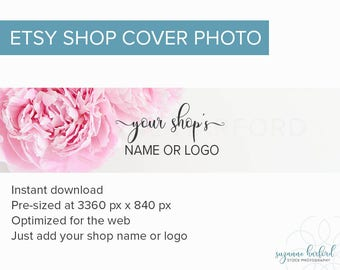 Pink Peony Flowers Etsy Cover Photo, New Large Etsy Shop Banner Stock Photograph, Premade Etsy Cover for Instant Download