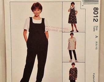McCalls 8012 Sewing Pattern Maternity Jumper Jumpsuit Top and Pull On Pants. Size A, 6 8 10. UNCUT