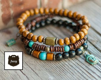 Buddhist Bracelet for men, Mens bracelet set, Men Yoga bracelet set, Boyfriend gift, Mens buddha bracelet, Men beaded bracelet, Gift for him